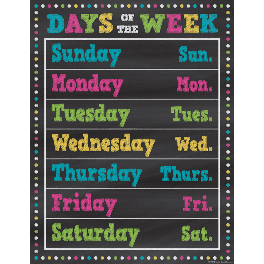 Chalkboard Brights - Days of the Week Chart
