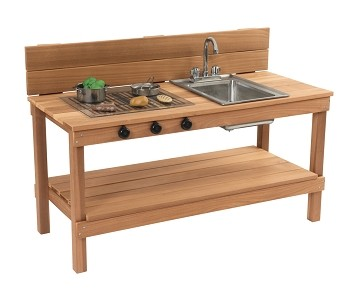 Outdoor Mud Kitchen and Grill with Running Water, 47-3/4