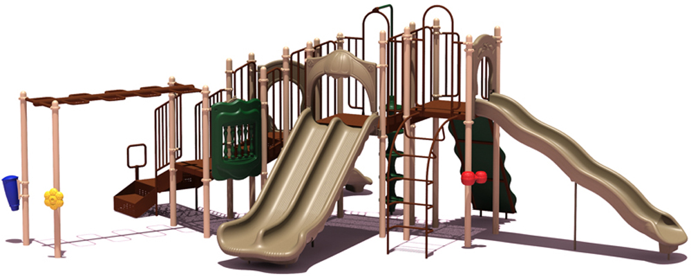Slide Mountain Playground  with Inground Kit- Natural Colors