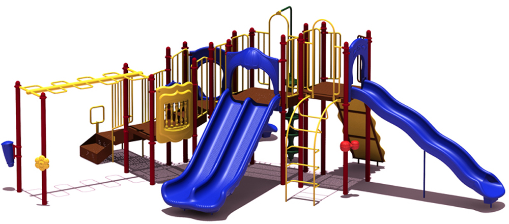 Slide Mountain Playground  with Inground Kit- Playful Colors