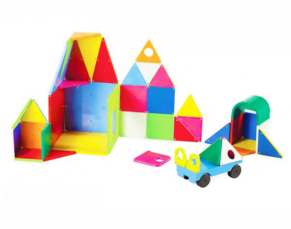 Magna-Tiles 3-D Magnetic Building Tiles, Solid Colors - Set of 48