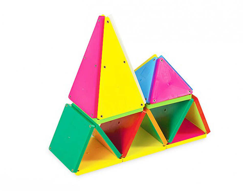 Magna-Tiles 3-D Magnetic Building Tiles, Solid Colors - Set of 100