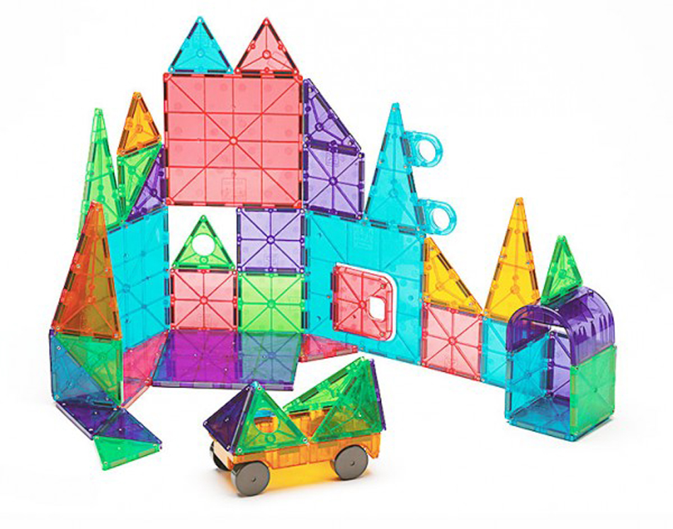 Magna-Tiles 3-D Magnetic Building Tiles, Clear Colors - Set of 48