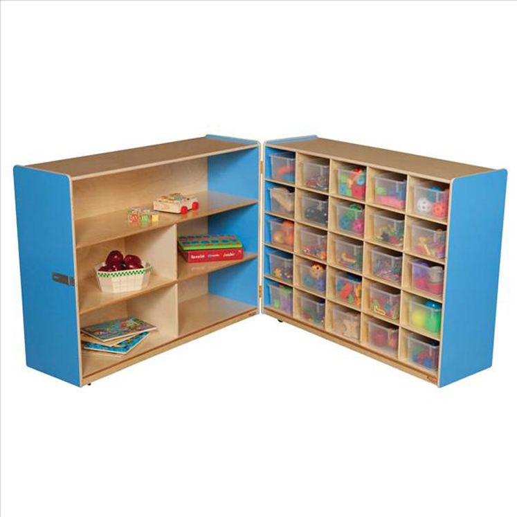 Tray and Shelf Fold Storage with (25) Translucent Trays