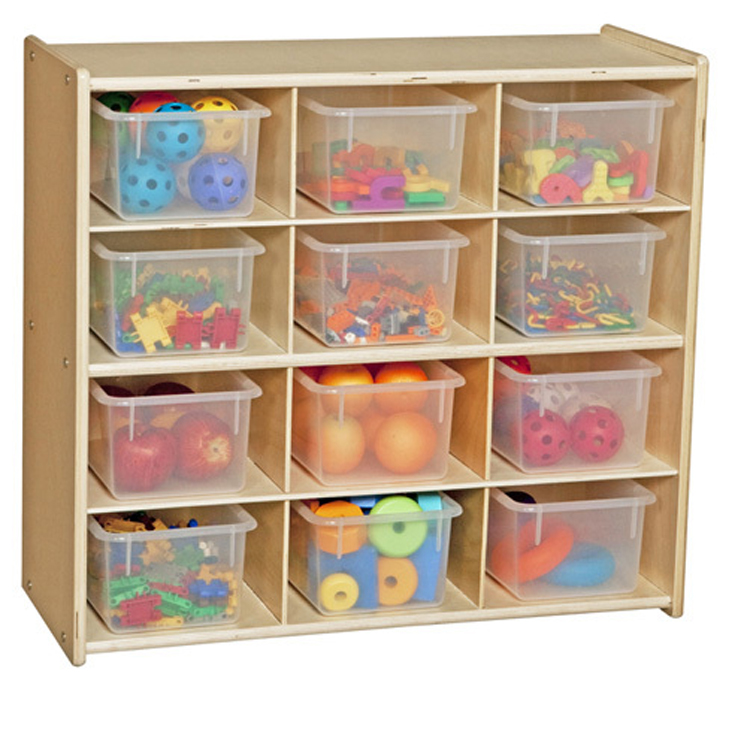 Baltic Birch 12-Cubby Storage Unit with Clear Tubs