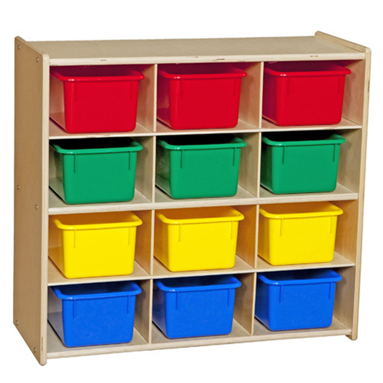 Baltic Birch 12-Cubby Storage Unit with Colorful Tubs