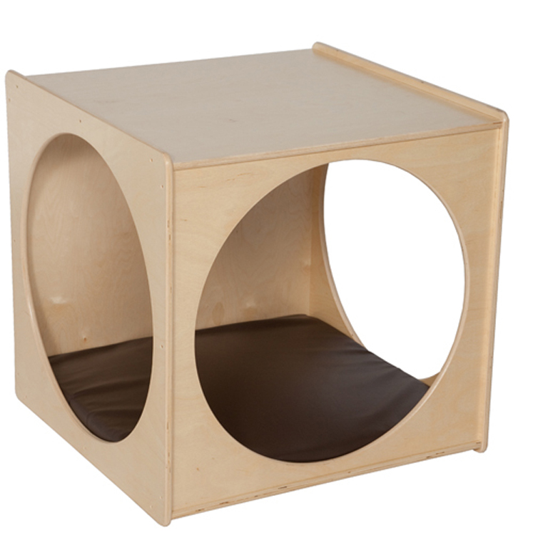 Giant Crawl Thru Play Cube (Imagination Cube) - Assembled with Brown Cushion - Unassembled or Assembled