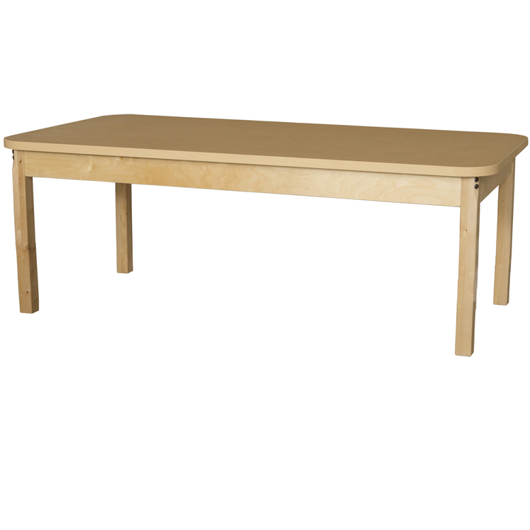 Rectangle Maple Laminate Table with Hardwood Legs - Multiple Heights