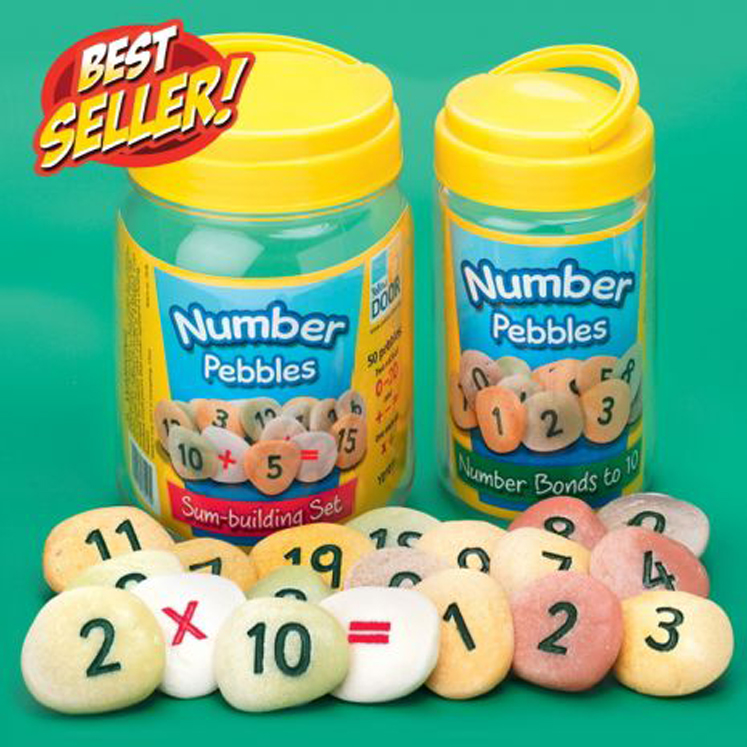 Number Pebbles-Sum Building Pebbles - Set of 50 Pebbles
