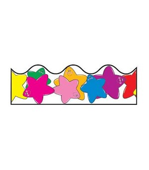 Colorful Stars Scalloped Border