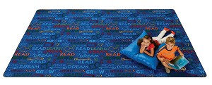 Read to Dream Pattern Rug or Dream Border Rug - 3 Sizes - Primary Colors