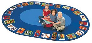Reading by the Book Seating Rug - Oval