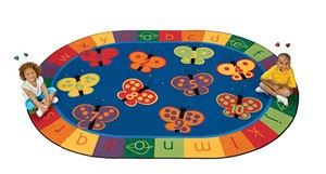 123 ABC Butterfly Fun Rug - Oval