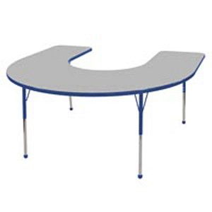 Adjustable Horseshoe Activity Table with Color Banding and Legs