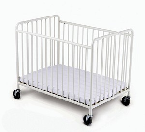 "Compact StowAway EasyRoll Folding Steel Evacuation Crib with oversized 4"" Casters"