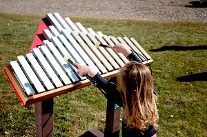 Duet - 18 note resonated xylophone/marimba, aluminum & fiberglass bars, 4 mallets