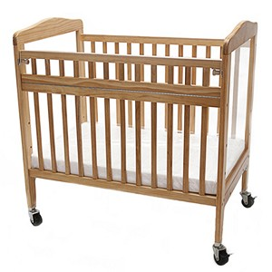 Compact Adjustable Wooden Window Crib with Safety Gate
