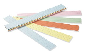 "Sentence Strips, 3"" x 24"", Ruled - 100 Strips - Assorted"