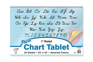 "Colored Paper Chart Tablets, 1"" Ruled, 24"" x 16"" - 25 Sheets"