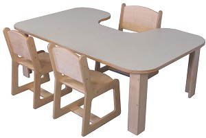 "Mainstream Kidney Table 36""d x 60""w (Chairs Not Included) - Multiple Heights Available"