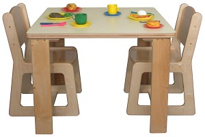 "Mainstream School Age Housekeeping Table, 30""w x 30""d x 26""h and 4-Chairs, 15''h (Preschool Set with 2 Chairs Shown)"