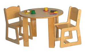 Mainstream School Age Round Housekeeping Table, 26''h and 4-Chairs, 15''h ( Preschool Set with 2 Chairs Shown)