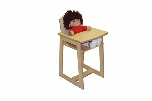 Mainstream Toddler Doll High Chair, 15''w x 15''d x 26''h