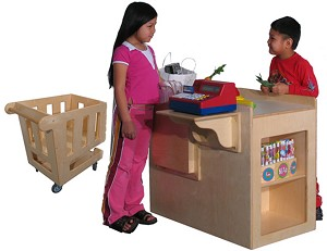 Mainstream School Age Check Out Stand and Shopping Cart (Preschool shown)