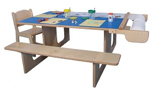 Mainstream Art Table for 7 with Benches