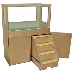 Mainstream Changing Table with Steps, Clear Splash Guard Panels, 45''w x 24''d x 60''h