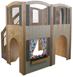 Mainstream Explorer 35 Preschool Wave Loft with Blue Carpeting and Steps on Left, 78''w x 98''d x 94''h, 52''h Deck