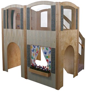 Mainstream Explorer 35 Preschool Wave Loft with Blue Carpeting and Steps on Right, 78''w x 98''d x 94''h, 52''h Deck