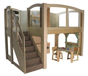 Mainstream Explorer 25 Preschool Wave Loft, Natural Colors, Steps on Left or Right, 128''w x 78''d x 94''h Overall, 52''h Platform
