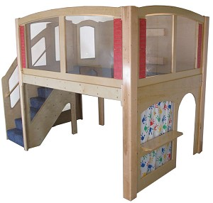 Mainstream Explorer 25 Preschool Wave Loft with Recessed Steps on Left or Right, Carpeted, 128''w x 78''d x 94''h Overall, 52''h Platform