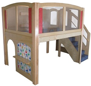 Mainstream Explorer 25 School Age Wave Loft with Recessed Steps on Right or Left, Carpeted, 128''w x 78''d x 105''h Overall, 60''h Platform