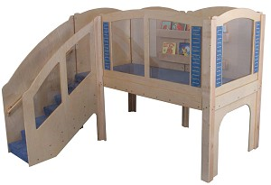Mainstream Older Toddler Explorer 2 Wave Loft, Steps on Left, Carpeted. 98''w x 97''d x 84''h Overall