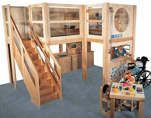 Mainstream Preschool Explorer 20 Loft, 152''w x 120''d x 106''h, 52''h Deck, 49''h Clearance (School Age Shown; Loft Only, Furniture Not Included)