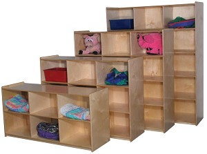 Maple Jumbo Cubbies for 9, 48''w x 36''h (Mainstream Shown - 2nd Unit from Front)