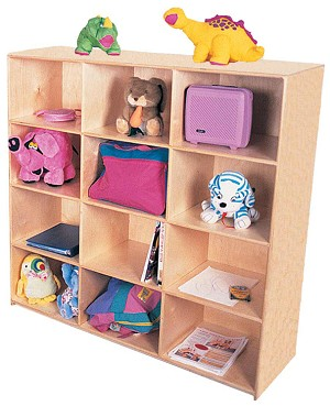 Maple Jumbo Cubbies for 12, 48''w x 16''d x 48''h (Mainstream Show)