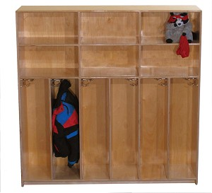 Maple Preschool Divided Lockers for 4, 30''w x 12''d x 48''h (Mainstream for 6 Shown)