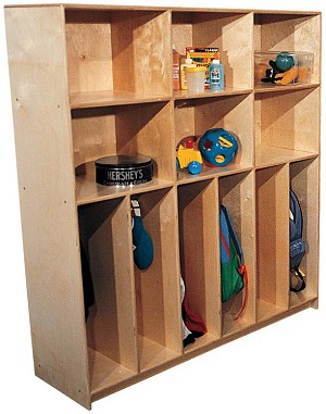 Deluxe School Age Divided Lockers with Cubbies for 10, 72''w x 15''d x 60''h (Mainstream for 6 Shown)