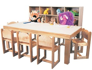 Preschool Deluxe Trap Table, 30''d x 30''w x 60''w x 20''h (26''h Rectangle Shown; Chairs and Cubbies Not Included)