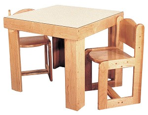 "Deluxe School Age Housekeeping Table, 28""w x 28""d x 26""h, and 4 Chairs 15''h (Preschool Set with 2 Chairs Shown)"