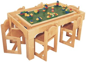 Deluxe Preschool Table Toy Playcenter for 4, 30''w x 30''d x 21''h (Table for 6 Shown; Chairs Not Included)
