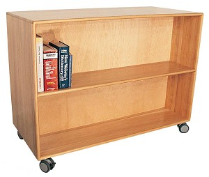 Deluxe Mobile Doublefaced Bookcase with 4'' Locking Casters, 60''High - 4 Shelves