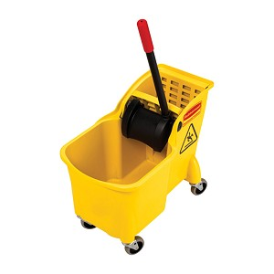 "Rubbermaid One Piece Mop Bucket and Wringer Combination, 31 qt, 3-1/4"" x 22-5/8"" x 32-1/4"", Yellow"