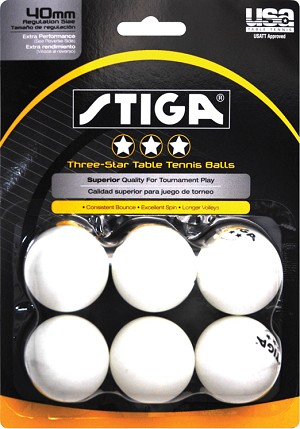 Stiga 3-Star Table Tennis Ball, White - Pack of 6