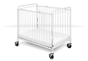 Chelsea Compact Non-Folding Steel Clearview Crib with Oversized Casters
