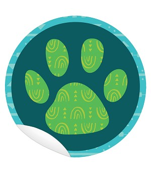 "Paw Print 5"" Floor Decals Set of 10: Promote Social Distancing for a Safer Classroom- Save in Bulk"
