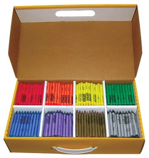 School Smart Non-Toxic Regular Crayon Classroom Pack in Storage Box - Assorted Color - Pack of 800